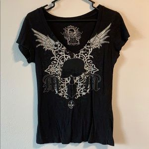 Black v neck MX shirt